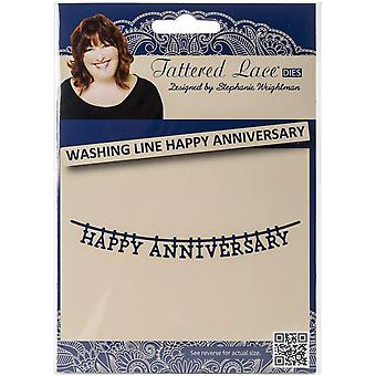Create and Craft Metal Tattered Lace DieWashing Line Happy Anniversary