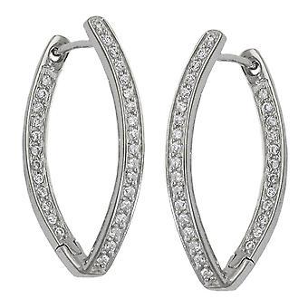 овальные Хооп Серьги серебряные серьги Кольца серебряные креольском, указал овал, кубического циркония, серебро 925