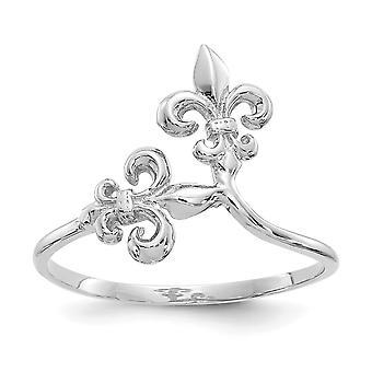 14k oro bianco lucidato anello Fleur De Lis