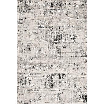 5' x 8' Ivoor of Zilver Abstracte Penseelstreken Viscose Indoor Area Vloerkleed