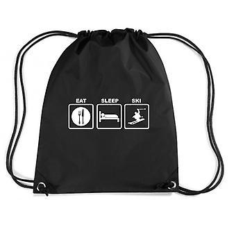 Black backpack fun1342 eat sleep ski
