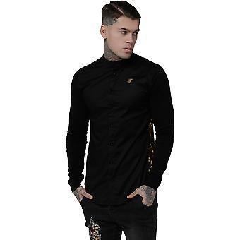 Sik Silk Royal Venetian Muscle Fit Grandad Long Sleeve Shirt Black 15
