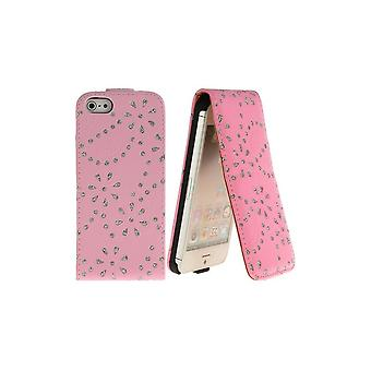Bling-bling Strass Pink Light Vertical Overture For IPhone 5