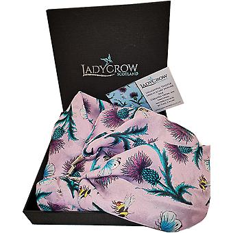 Silk Chiffon Thistle Collection Scarf by Ladycrow Scotland - Pastel Pink