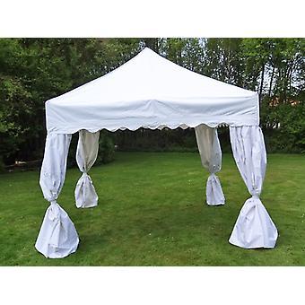 Vouwtent/Easy up tent FleXtents Steel 3x3m Wit, incl. 4 decoratieve gordijnen