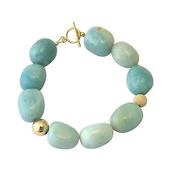 Gemshine Armband mit seeblauen Amazonit Edelsteinen in 925 Silber oder vergoldet