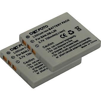 2 x Dot.Foto Sanyo DB-L20, DB-L20AEX, DB-L20EX Replacement Battery - 3.7v / 720mAh