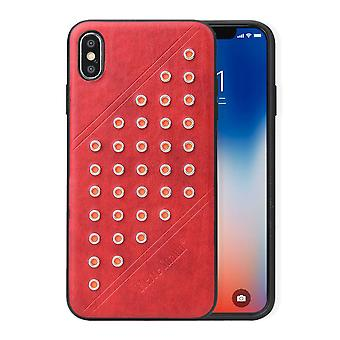 For iPhone XS MAX Cover,Modish Light Leather Back Shell Phone Case,Red