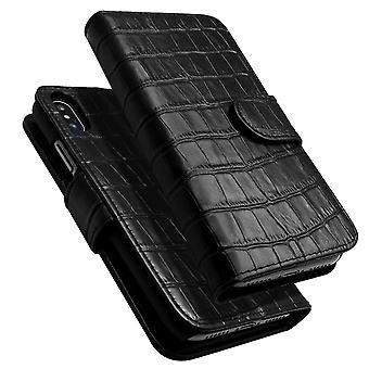 Pour iPhone XS,X Case,iCoverLover Crocodile Texture Genuine Leather Wallet,Black