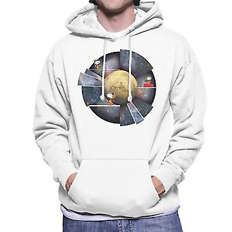 Peanuts Snoopy Woodstock Outer Space Montage Men's Hooded Sweatshirt