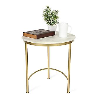 Penguin Home Marble Top Coffee Table With Gold Painted Iron Steel Frame