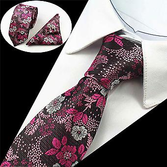 Pink purple & silver men's tie cuff link & pocket square