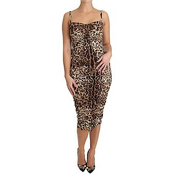 Dolce & Gabbana Brown Leopard Silk Sheath Bodycon Dress