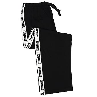 Fortnite Logo Boys Lounge Pants Leg Strip Kids Black & White Pyjama Bottoms