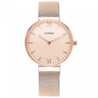 Tayroc Ty146 Coro różowe złoto siatki pasek damski zegarek