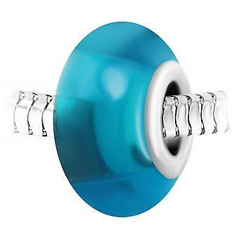 Charm pärla blått glas och stål av SC Crystal BEA0147