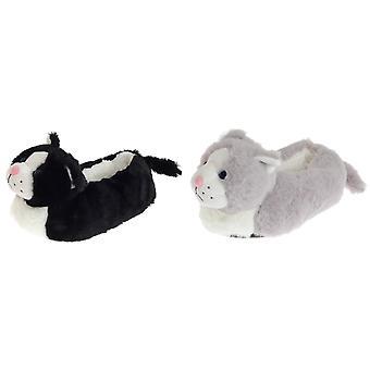 SlumberzzZ Childrens/Kids Fleece Lined Cat Slippers