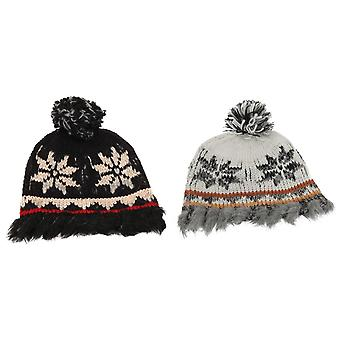 Ladies/Womens Patterned Winter Bobble Hat