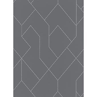 Erismann Graphic Arts Geometric Modern Geo Line Charcoal Wallpaper