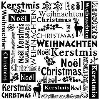 Nellie's Choice Embossing Folder Multi Language text Christmas MLTXT001