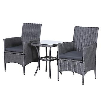 Outsunny 3PC Rattan Bistro Set 2 Armchair Glass Top Coffee Table Wicker Weave Furniture for Garden Outdoor Balcony Patio