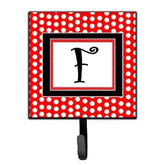 Буква F первоначальный вензель - красный черный горошек поводок держатель или ключа крюка