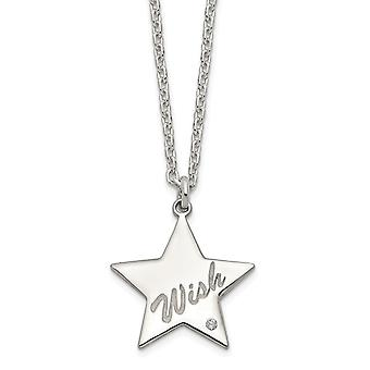 925 Sterling Silver Polished CZ Cubic Zirconia Simulated Diamond Wish a Star Pendant Necklace 16 Inch Jewelry Gifts for