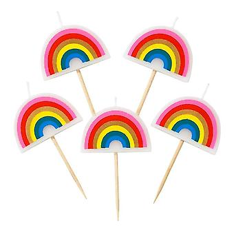 Birthday Brights Rainbow Shaped Candles x 5