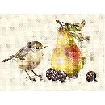 Alisa Cross Stitch Kit - Bird and a Pear