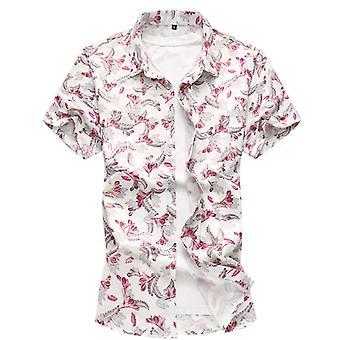 Allthemen hommes à manches courtes chemise grande taille florale Printeed coton mélange chemise courte