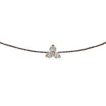 Choker Britney 18K Gold and Diamonds, on Thread - Rose Gold, Chocolate