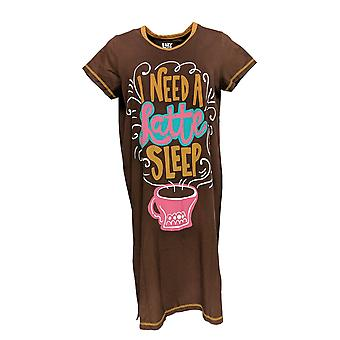 Lazy One Women's Sleepshirt Short Sleeve V Neck Brown