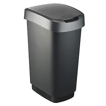 ROTHO Abfalleimer TWIST 50 Liter Dunkelsilber | Mülleimer mit Schwing- und Klappdeckel
