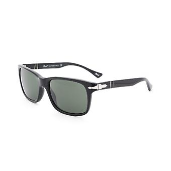 Persol Crystal Green Square Frame Black Sunglasses