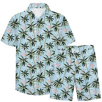 Allthemen Men's 3D colorato 2-pezzi Casual Beach Camicia&Shorts