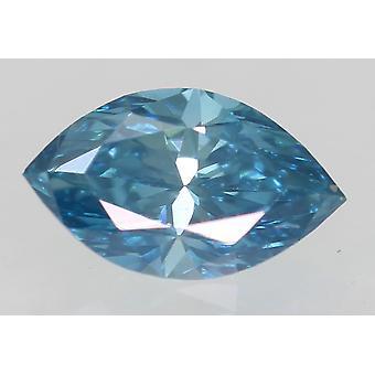 Cert 0.30 Carat Sky Blue VVS2 Marquise Enhanced Natural Diamond 5.86x3.47mm 2VG