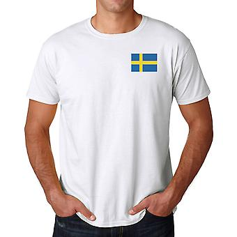 Sverige flagg brodert Logo - bomull T skjorte