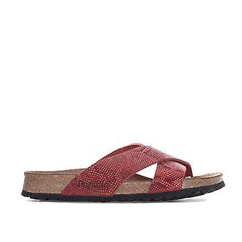 Women's Papillio Daytona Leather Sandals Narrow Width in Red