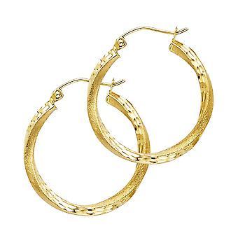 14k Yellow Gold Sf Sparkle Cut 2.6mm Swirl Hoop 20mm Earrings Jewelry Gifts for Women - 1.5 Grams