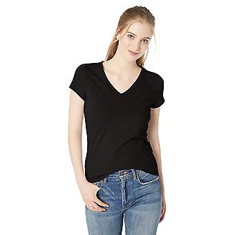 Daily Ritual Women's Lightweight Lived-in Cotton Pocket V-Neck T-Shirt, Black...