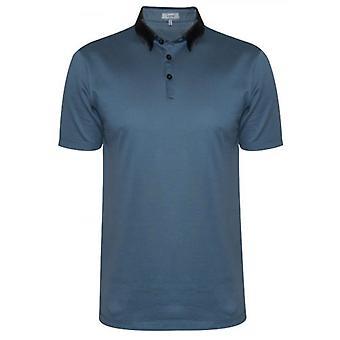 Lanvin Metallic Blue Grosgrain Slim Fit Piquí© Camisa Polo