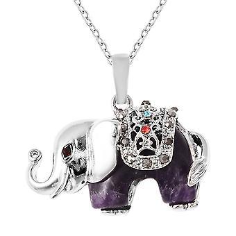 Elephant Amethyst Ketting Hangketting Roestvrij Stalen Multi Colour Crystal