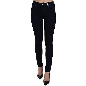 Versace Black VJ Sequence Emblem Indigo Skinny Fit Pants -- PAN6173808