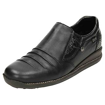 Rieker TEX Low Wedge Leather Shoes Shower Proof 44254-00