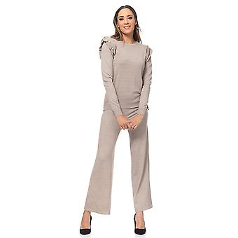 Set of knitted wide pants and pullover,  with flounce and buttons details