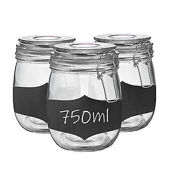 Szklane słoiki do przechowywania z hermetyczną pokrywą klipsa i naklejkami na tablicę kredową - Zestaw 750ml - Clear Seal - Opakowanie 6