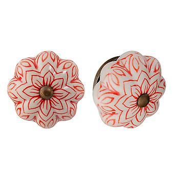 Nicola Frühling Keramik Schrank Schublade Knöpfe - Vintage Blumen-Design - rot - Packung mit 12