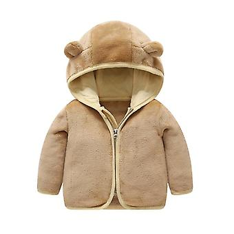 Cartoon Baby Boys warm Winter dicken Mantel, solid Bear Ear Kapuzen Oberbekleidung