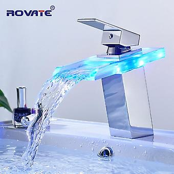 Led Basin Faucet Brass Waterfall Temperature Colors Change Bathroom Mixer, Deck