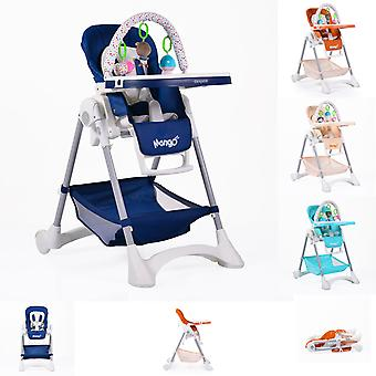 Mangue de chaise haute, pliable, hauteur réglable, coussin de siège amovible, jouant l'arc